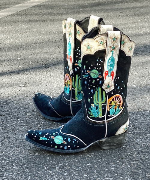 "DDL081-1 DOUBLE D RANCH SPACE COWBOY BLACK MULTI EMBROIDERED 11"" LEATHER BOOTS"