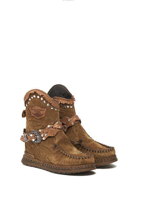 EL VAQUERO Abby Crocus Cigar Tan Wedge Moccasin Boots