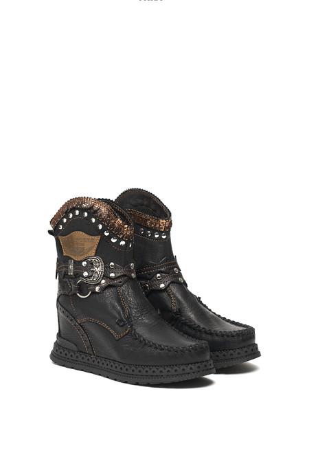 EL VAQUERO Abby Aged Void Black Wedge Moccasin Boots