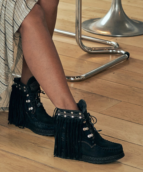 EL VAQUERO Grace Silverstone Carbon Black Hidden Wedge Moccasin Leather Boots
