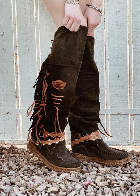 EL VAQUERO Delilah Mocc Crocus Turf Brown Natural Wedge Moccasin Boots