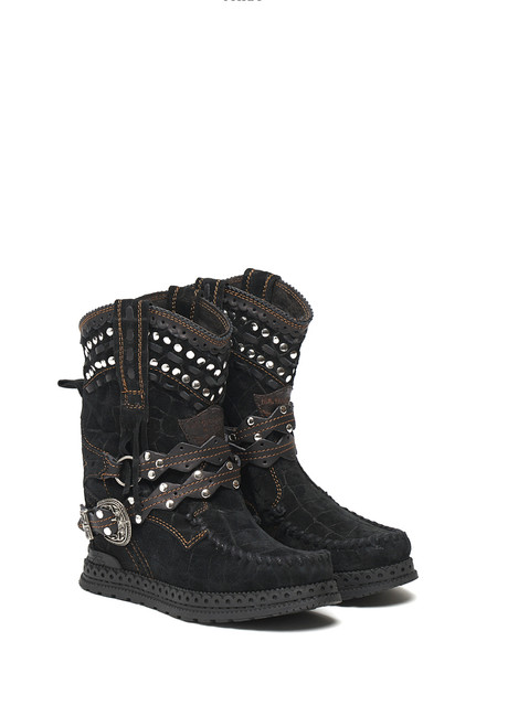 EL VAQUERO Yara Crocus Dark Black Wedge MoccasinLeather Boots