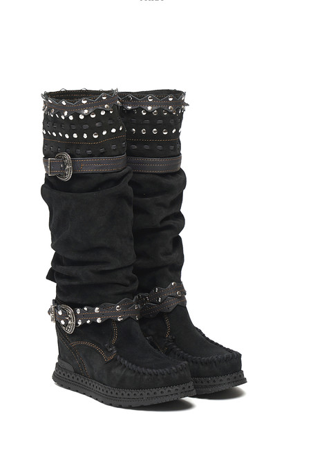 El Vaquero Walker Silverstone Carbon Black Leather Hidden Wedge Heel Boots