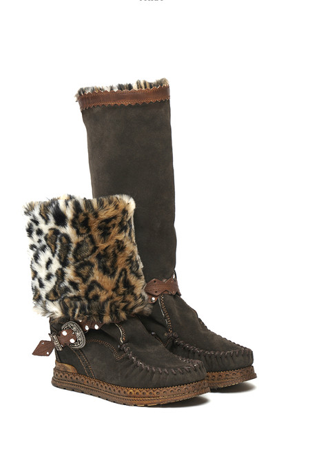El Vaquero Amelia Silverstone Ebony Leather Hidden Wedge Heel Boots