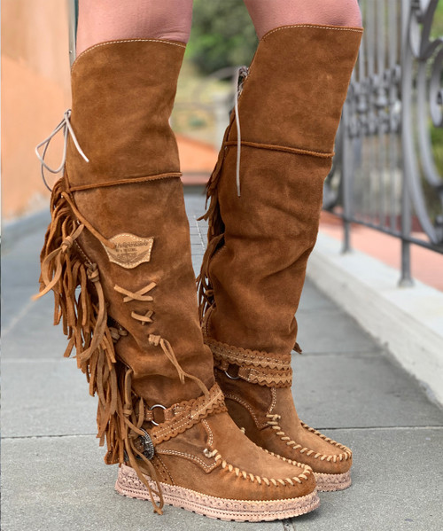 EL VAQUERO Delilah Drifter Silverstone Mou Leather Wedge Moccasin Boots