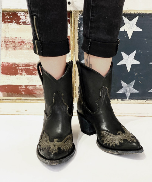 """L3041-1 Old Gringo Mexicana Eagle Black Grey 6"""" Ankle Boots"""