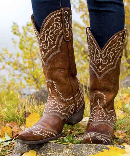 YL 161-1 Yippee Ki Yay by Old Gringo Ladies Sintra Oryx Brown Brass Leather Boots