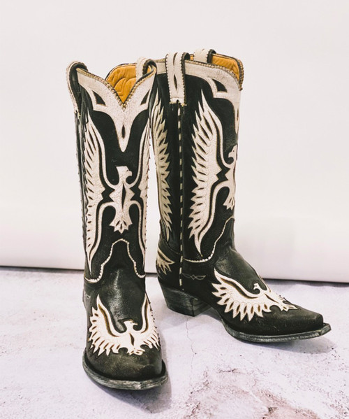 "L 105-168 OLD GRINGO EAGLE DISTRESSED BLACK CRACKLED MILK WHITE 13"" LEATHER BOOTS"