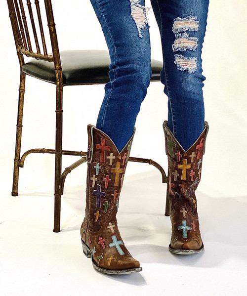 "L 819-6 OLD GRINGO OH MY GOD 13"" BRASS COWGIRL WESTERN LEATHER BOOTS"