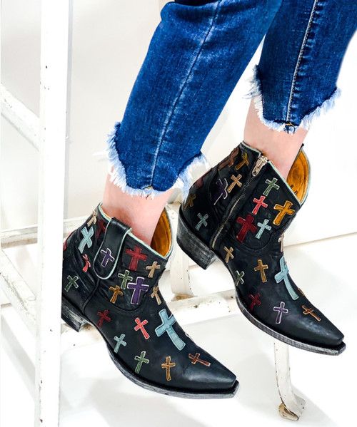 """L 819-5 OLD GRINGO OH MY GOD BLACK 7"""" ANKLE LEATHER BOOTS"""