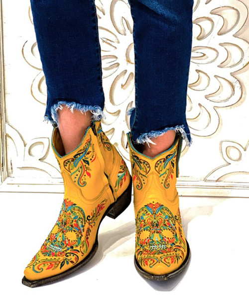 "BL3233-6 Old Gringo DULCE CALAVERA YELLOW MULIT COLOR EMBROIDERED 7"" ANKLE BOOTS"