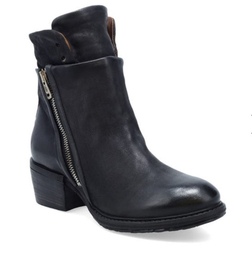 A.S.98 CADMUS NERO BLACK LEATHER ANKLE BOOTS