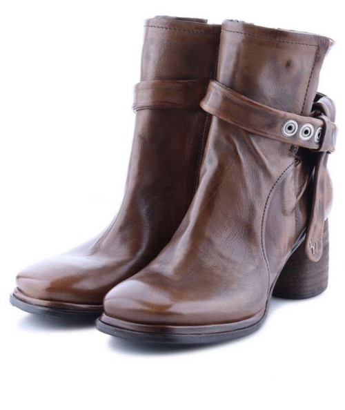 A.S.98 DECLAN CALVADOS BROWN LEATHER ANKLE BOOTS