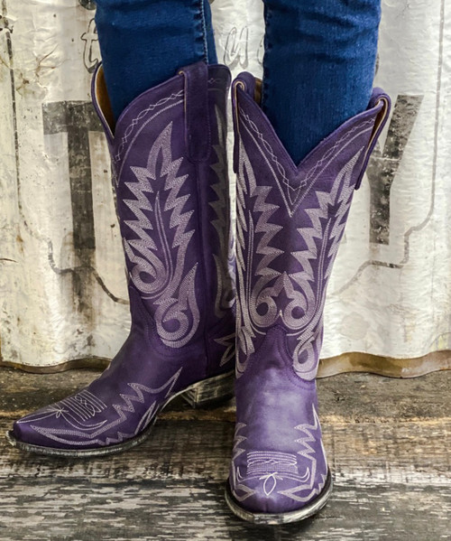 "L 175-448 OLD GRINGO NEVADA VINTAGE MORADO VIOLET PURPLE 13"" LEATHER BOOTS"