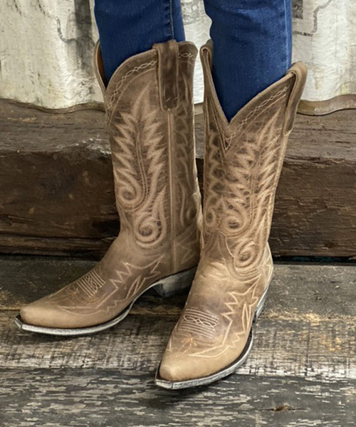 "L 175-550 OLD GRINGO NEVADA 13"" HARMAN BEIGE LEATHER BOOTS"