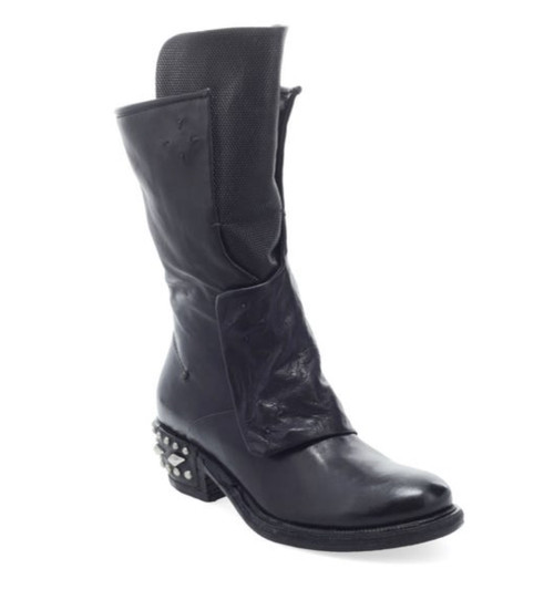 A.S.98 IMMY NERO BLACK STUDDED HEAL LEATHER BOOTS