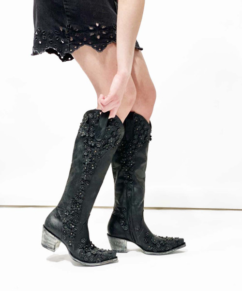 """L3499-1 OLD GRINGO DIANA HIPPIE CHICK FLOWER 18"""" LEATHER BOOTS"""