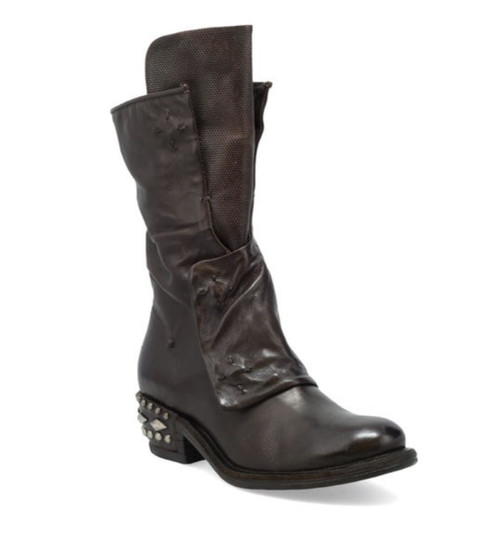 A.S.98 IMMY FONDENTE BROWN STUDDED HEAL LEATHER BOOTS