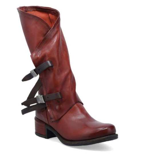 A.S.98 ISHY SEQUOIA RUST BROWN BUCKLE ACCENTED LEATHER BOOTS