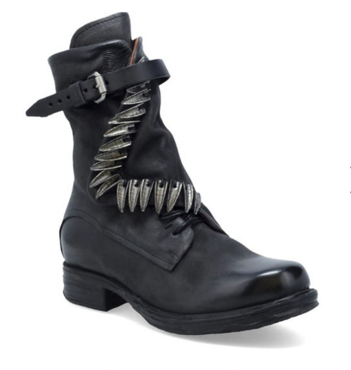 A.S.98 SEGER NERO BLACK LEATHER ANKLE BOOTS