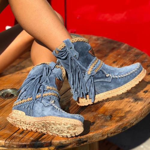 EL VAQUERO Arya Mocc Silverstone  Blue Wedge Moccasin Boots