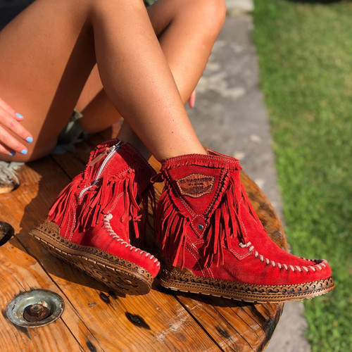 EL VAQUERO Cloe Silverstone Red Leather Wedge Moccasin Boots