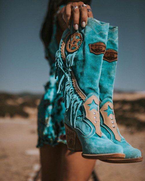 EL VAQUERO Kathy Silverstone Marine Texan Leather Boots