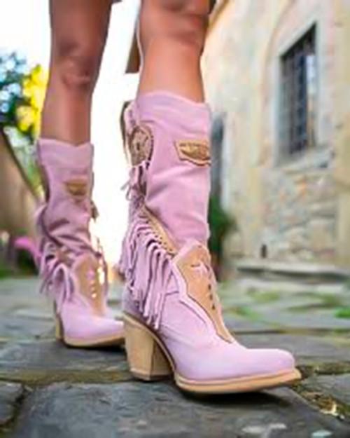 EL VAQUERO Kathy Silverstone Cipria Pink Texan Leather Boots