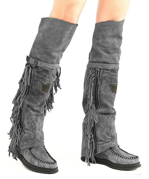 EL VAQUERO Coleen Drifter Silverstone Plomo Wedge Moccasin Tall Fringe Boots