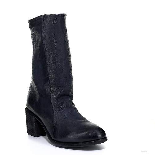 A.S.98 BAUER TORNADO NAVY LEATHER ANKLE BOOTS
