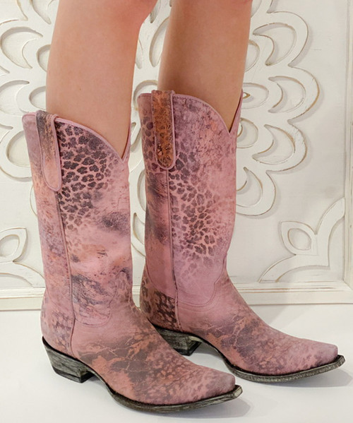 """L 168-5 OLD GRINGO PINK LEOPARDITO 13"""" COWGIRL BOOTS"""