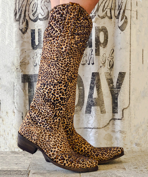 "L2601-4 RF OLD GRINGO LEIGH ANN CHEETAH PRINT HAIR ON HIDE 18"" LEATHER BOOTS RELAXED FIT"