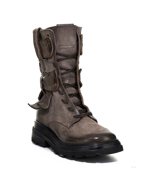 A.S.98 LAWTON FANGO GRAY BIKER STYLE LEATHER BOOTS