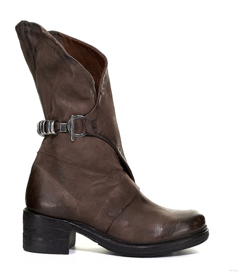 A.S.98 NEBBIE FONDENTE BROWN LEATHER ANKLE BOOTS