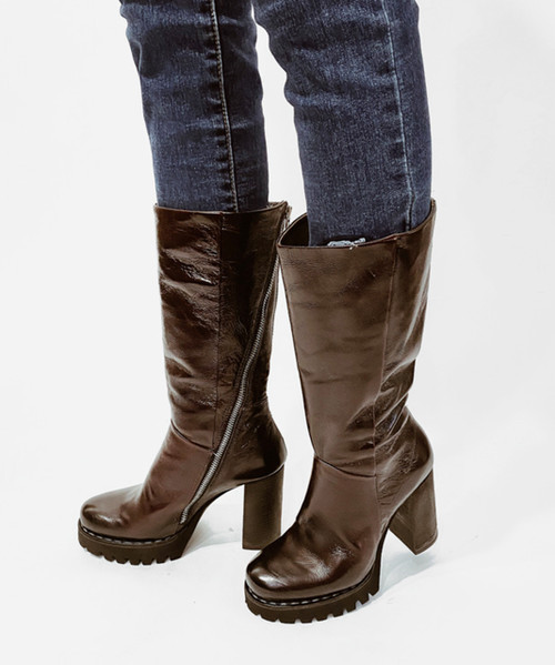 A.S.98 BLOC LIZ MERLOT TALL ZIP LEATHER BOOTS