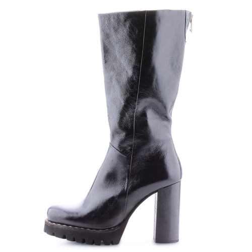A.S.98 BLOC NERO BLACK TALL ZIP LEATHER BOOTS