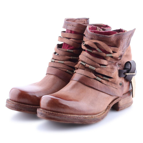 A.S.98 SAINT 14 OSSIDO RUST STRAPPY ANKLE BOOTS
