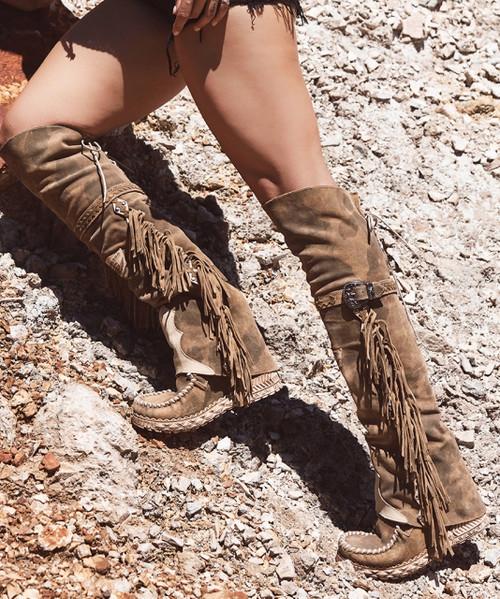 EL VAQUERO Coleen Drifter Silverstone Kamo Hunt Wedge Moccasin Boots