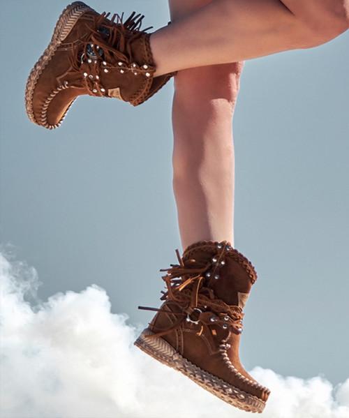 EL VAQUERO Arya Mocc Silverstone Carmel Mou Wedge Moccasin Boots