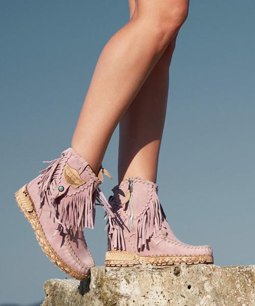 EL VAQUERO Cloe Silverstone Cipria Pink Leather Wedge Moccasin Boots