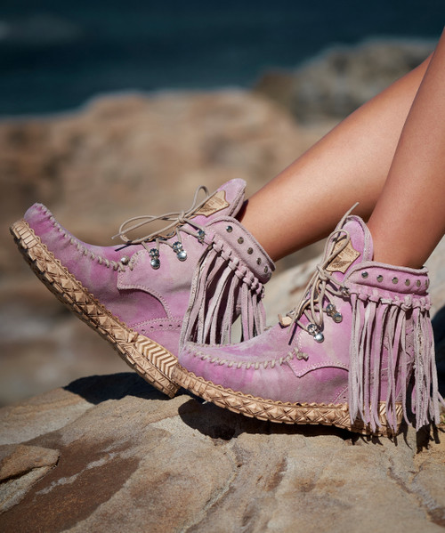 EL VAQUERO May Kamo Lady Pink Fringe Ankle Boots