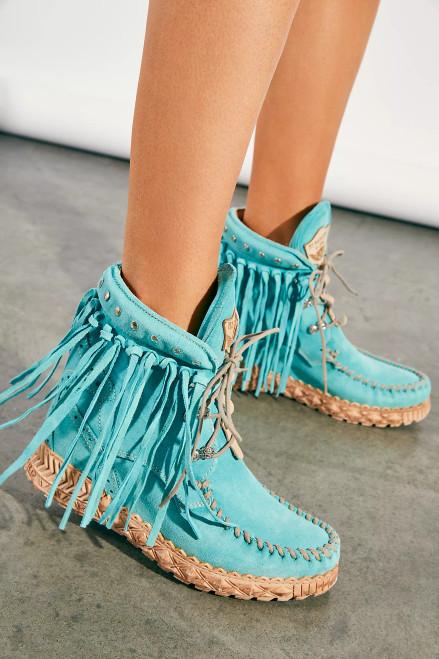 EL VAQUERO May Roseland Silverstone Marine Turquoise Fringe Ankle Boots