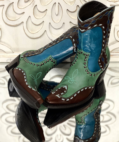 DDBL059-2 DOUBLE D RANCH BAKERSFIELD TURQUOISE CHOCOLATE BRASS  ANKLE BOOTS