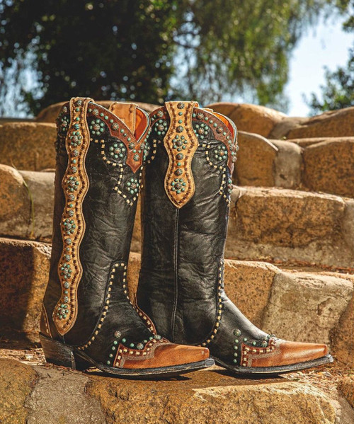 """L3195-1 OLD GRINGO CHERYL BLACK BRASS TURQUOISE RIVETED 13"""" LEATHER BOOTS"""