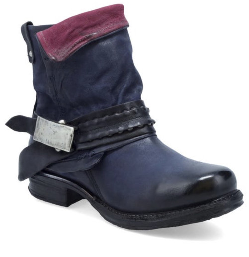 A.S.98 SEBASTIAN TORNADO NAVY LEATHER ANKLE BOOTS