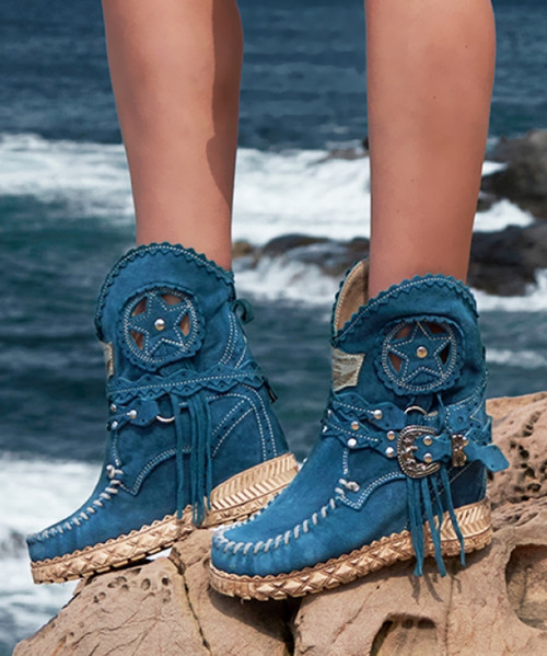 EL VAQUERO Nora Silverstone Ink Turquoise Blue Stone Washed Fringe Ankle Boots