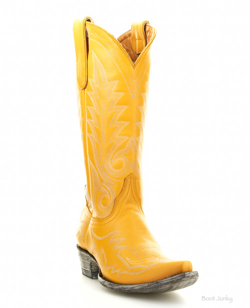 """L 175-554 OLD GRINGO NEVADA VINTAGE YELLOW 13"""" LEATHER BOOTS"""