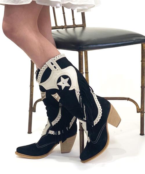 EL VAQUERO Kara Silverstone Bi Light Black White Fringe Leather Boots