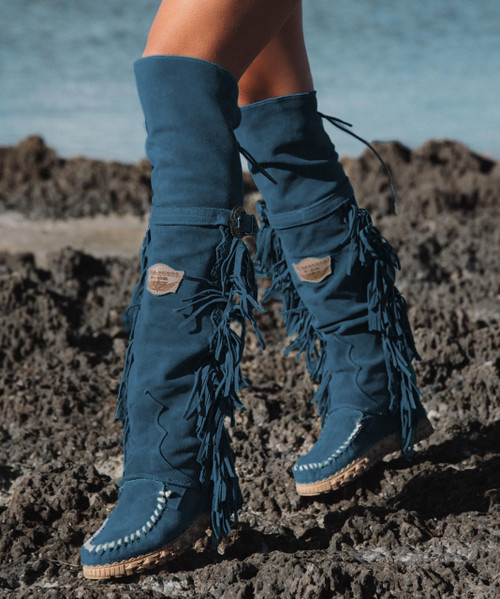 EL VAQUERO Coleen Drifter Silverstone Ink Teal Blue Wedge Moccasin Boots
