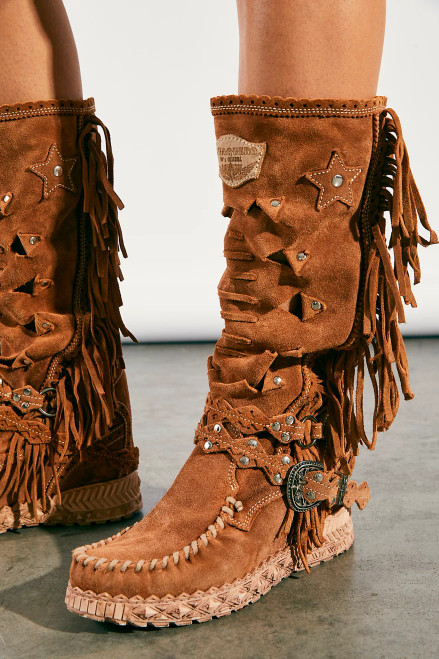 EL VAQUERO Squaw Peace Valley Silverstone Mou Leather Wedge Moccasin Boots